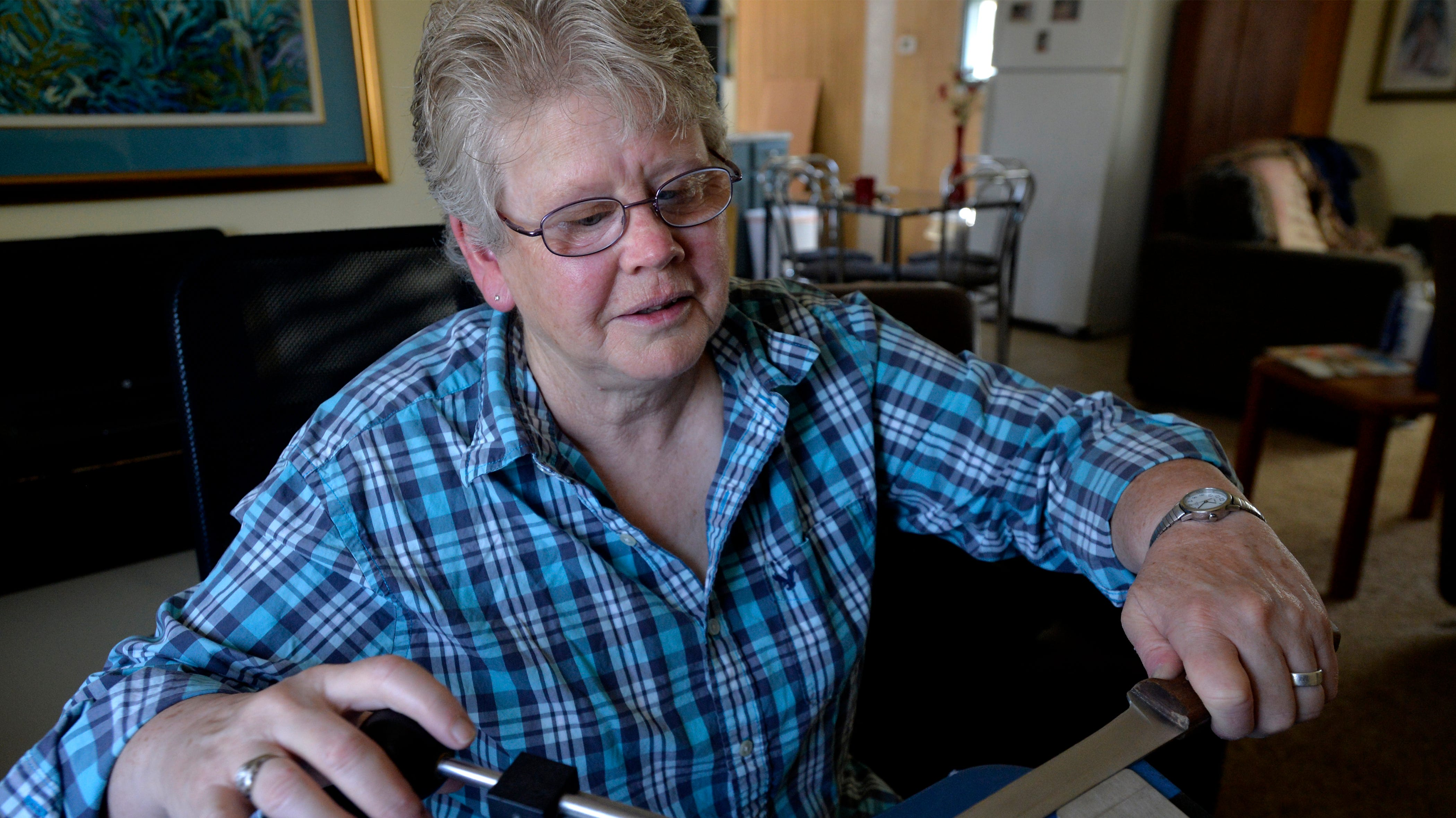 Sonja Bragstad operates a knife sharpening business, The Finer Edge by Sonja, in Black Eagle.  She demonstrates sharpening a knife using the Edge Pro fixed angle knife sharpener.
