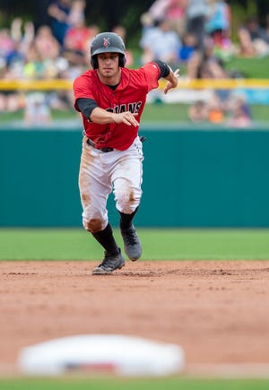 Indianapolis Indians' Max Moroff (2) races toward third base. The Indianapolis Indian's hosted the Buffalo Bisons in Minor League Baseball action at Victory Field, Sunday, July 29, 2018. The Tribe lost 2-1 in the front side of a double-header.