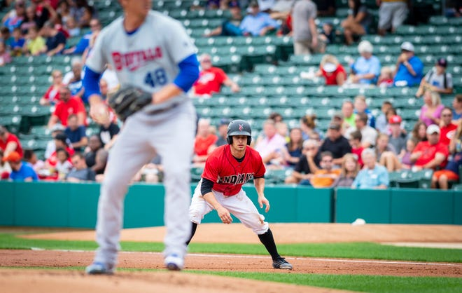 Indianapolis Indians' Max Moroff (2) leads off of first base as he concentrates on the pitcher. Moroff successfully stole second base on the play. The Indianapolis Indian's hosted the Buffalo Bisons in Minor League Baseball action at Victory Field, Sunday, July 29, 2018. The Tribe lost 2-1 in the front side of a double-header.