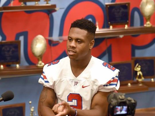 Jackson Prep running back Jerrion Ealy is a top prospect in the 2019 football recruiting class. Ealy lifted weights with his Patriot teammates before being interviewed and going through a photo shoot on Friday, July 13, 2018, at Prep's campus in Flowood.