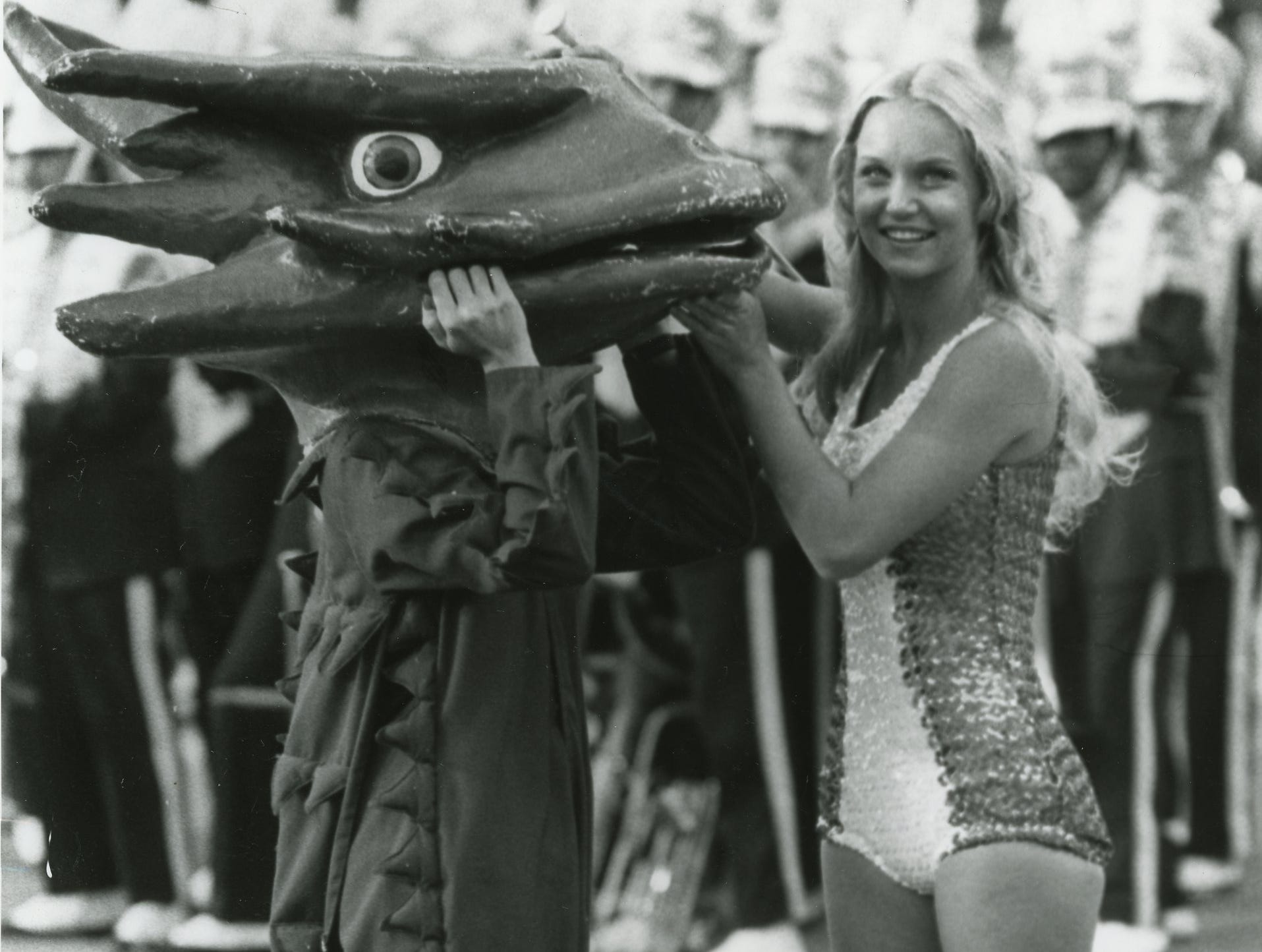 UT majorette Suzanna Timberlake, right, with the Horned Frog (Getchen Gazlay). September, 1976.