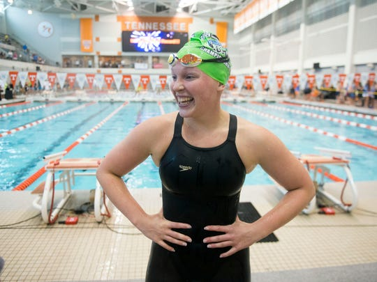 Emily Pye of the Green Meadows Swim Team celebrates after winning the Girls 15-18 50 Yard Breast Stroke dueing the Greater Knoxville Area Interclub Swimming Association Championship Swim Meet on Sunday, July 29, 2018 at Allan Jones Aquatic Center.