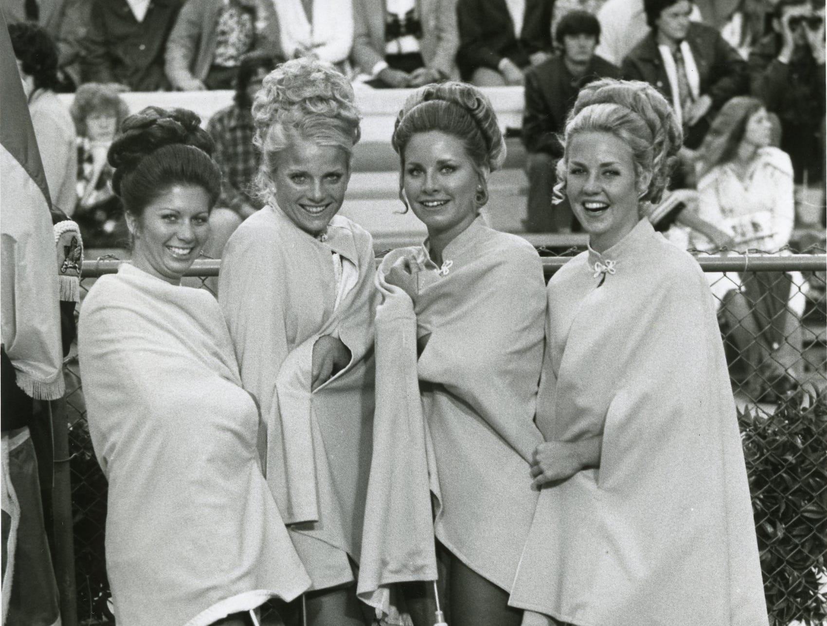 UT majorettes Marsha Cole, Susan Huntington, Kathy McCarrell and Carolyn Bell, September 1974.