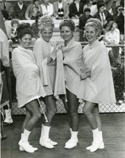 UT majorettes Marsha Cole, Susan Huntington, Kathy McCarrell and Carolyn Bell, September 1974.