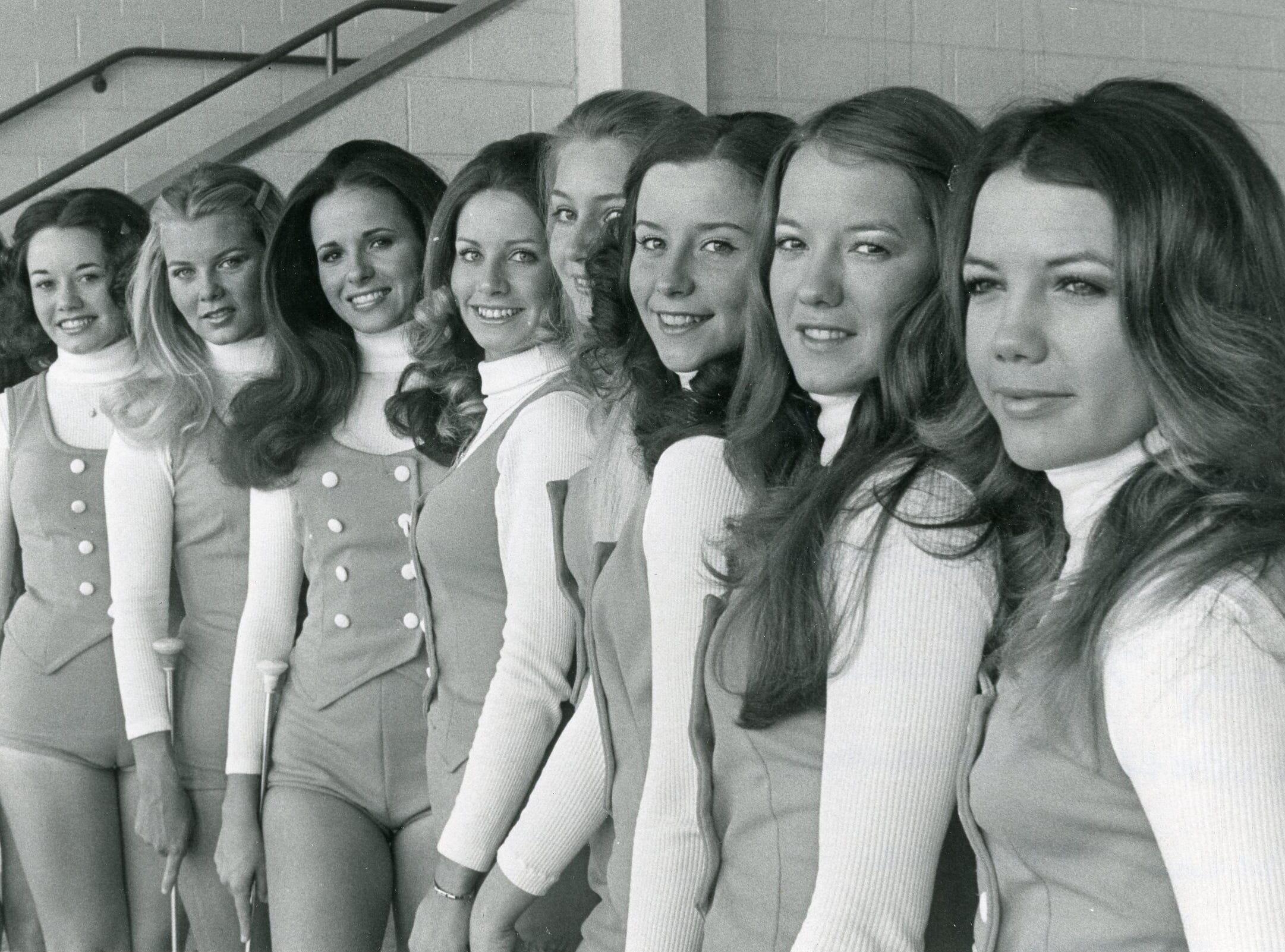 UT majorettes Karen Lee, Karen Crumm, Suzie Smith, Suzanne Minchey, Kathy McCarrell, Barbara Hammer, Theresa Steiner, Lexie Smith and Leah Smith. 1972