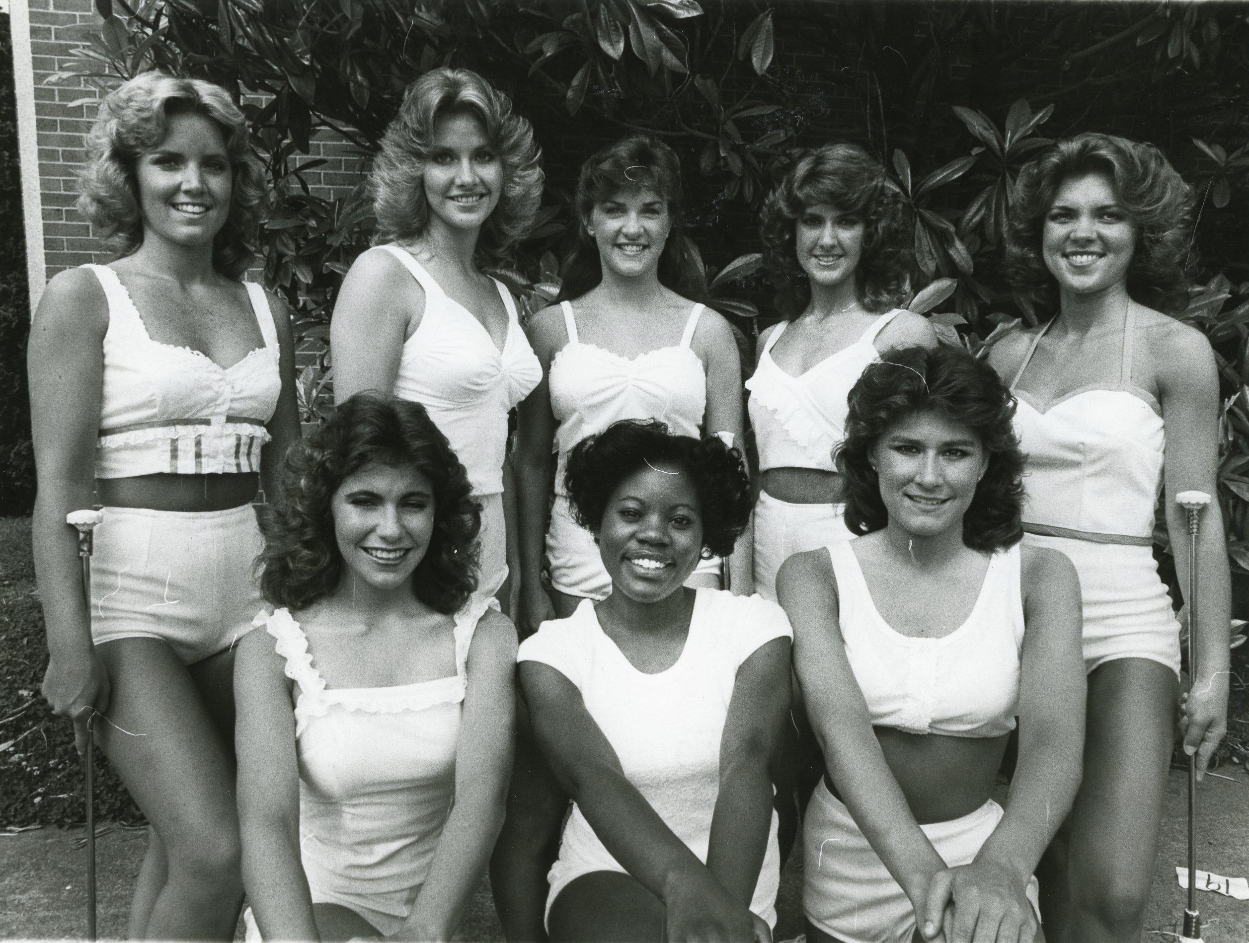 UT 1983 majorettes included (front) Leslie Murrell, Dawn James, Kenda Melton; (back) Rhonda Barker, Vicki Davis, Julie Watson, Aimee Wall and Leigh Ann Gammon.