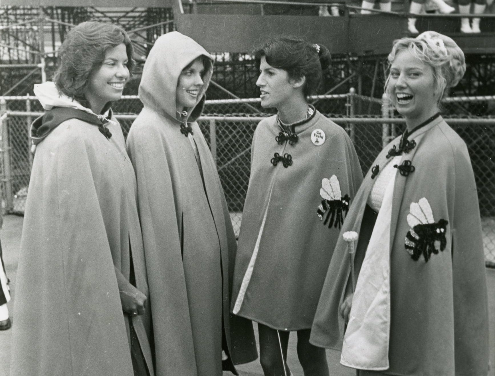 These four former Doyle High School majorettes meet again as UT and Georgia Tech faced off in an October, 1977 game. Pictured are Debra McCarrell, Kim Helton, Lisa Ballard and Kathy Thrower.