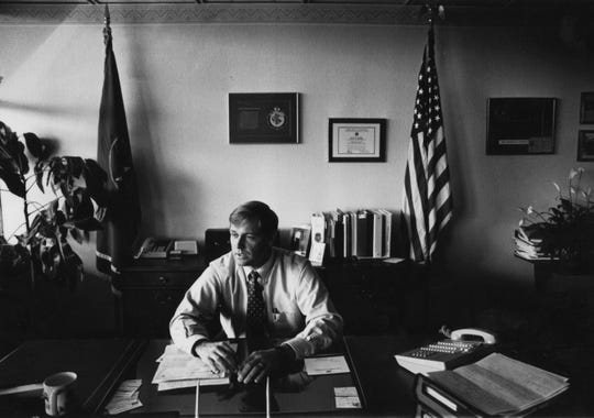 Newly-elected Knox County Sheriff Tim Hutchson talking during an interview in his office in 1990.
