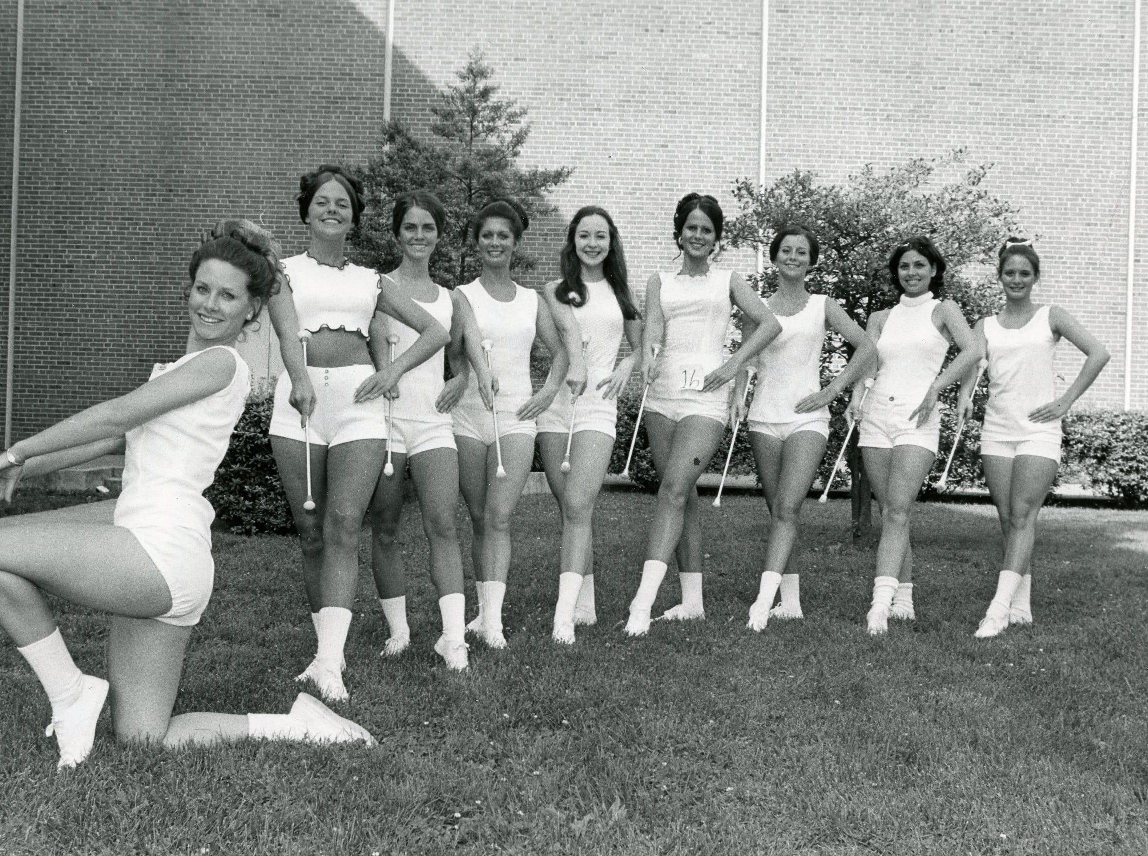 UT majorettes Kathy McCarrell, Karen Lee, Nancy Davis, Marsha Cole, Nancy Jones, Rhoda Long, Theresa Steiner, Melinda Ortolani and Pam Hambrick, May, 1973.