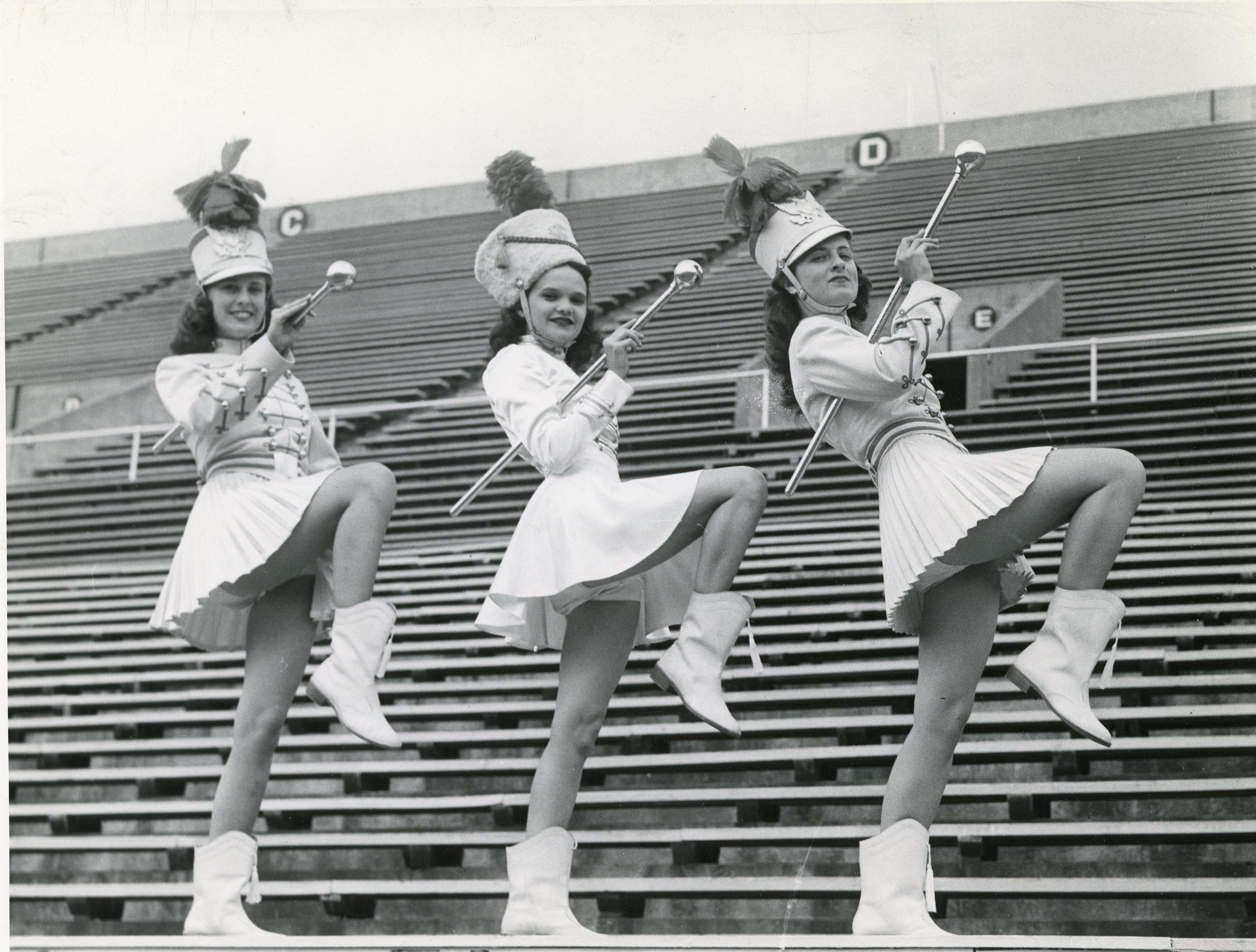 University of Tennessee 1948 majorettes Patty Shaw, Celestine Alonso and Jane Chapin.
