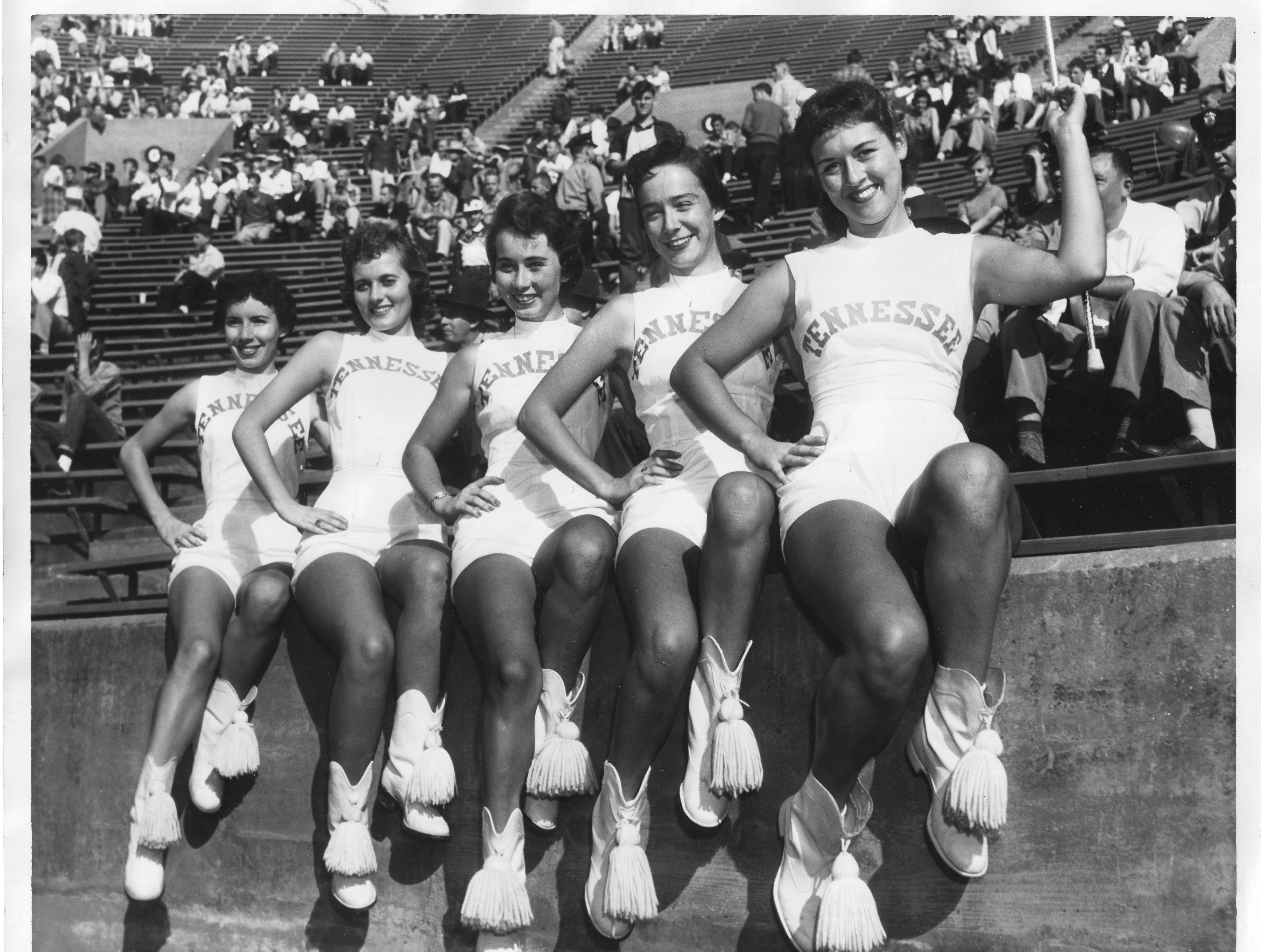 UT Majorettes, from left, Alice Russell, Binnie Lee Renner, Evadine Ownby, Jane Howard, Ann Dale Guinn.