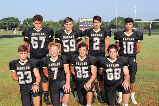 Kaplan's seniors on offense include (front row, from left) Braylon Romero, Drake Abshire, Reed Renfrow, Michael Lotief, (back row, from left) Haiden Hebert, Anthony Demarco, Dawson Bourque and Brayden Bass.