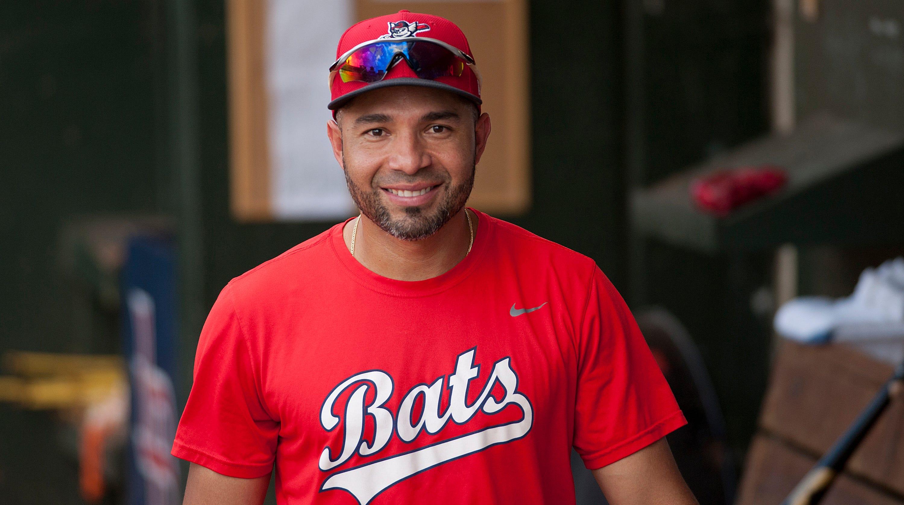 Louisville Bats'  Hernan Iribarren, age 34, walks into the team dugout.July 06, 2018