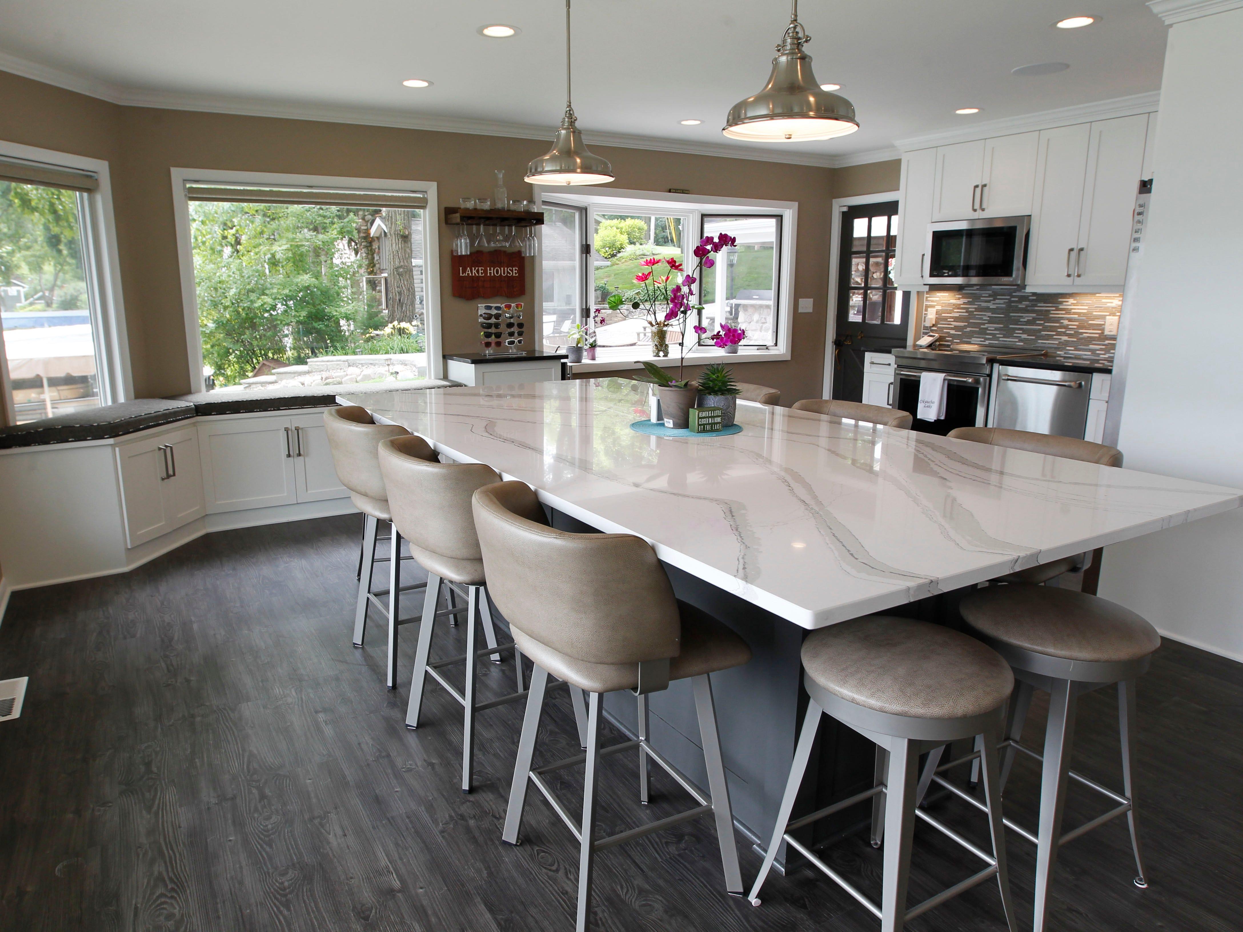 The large kitchen island seats 10.