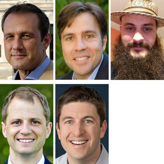 Republican candidates for Wisconsin's 1st Congressional District. Top row from left: Paul Nehlen, Nick Polce, Jeremy Ryan. Bottom row from left: Kevin Adam Steen, Bryan Steil.