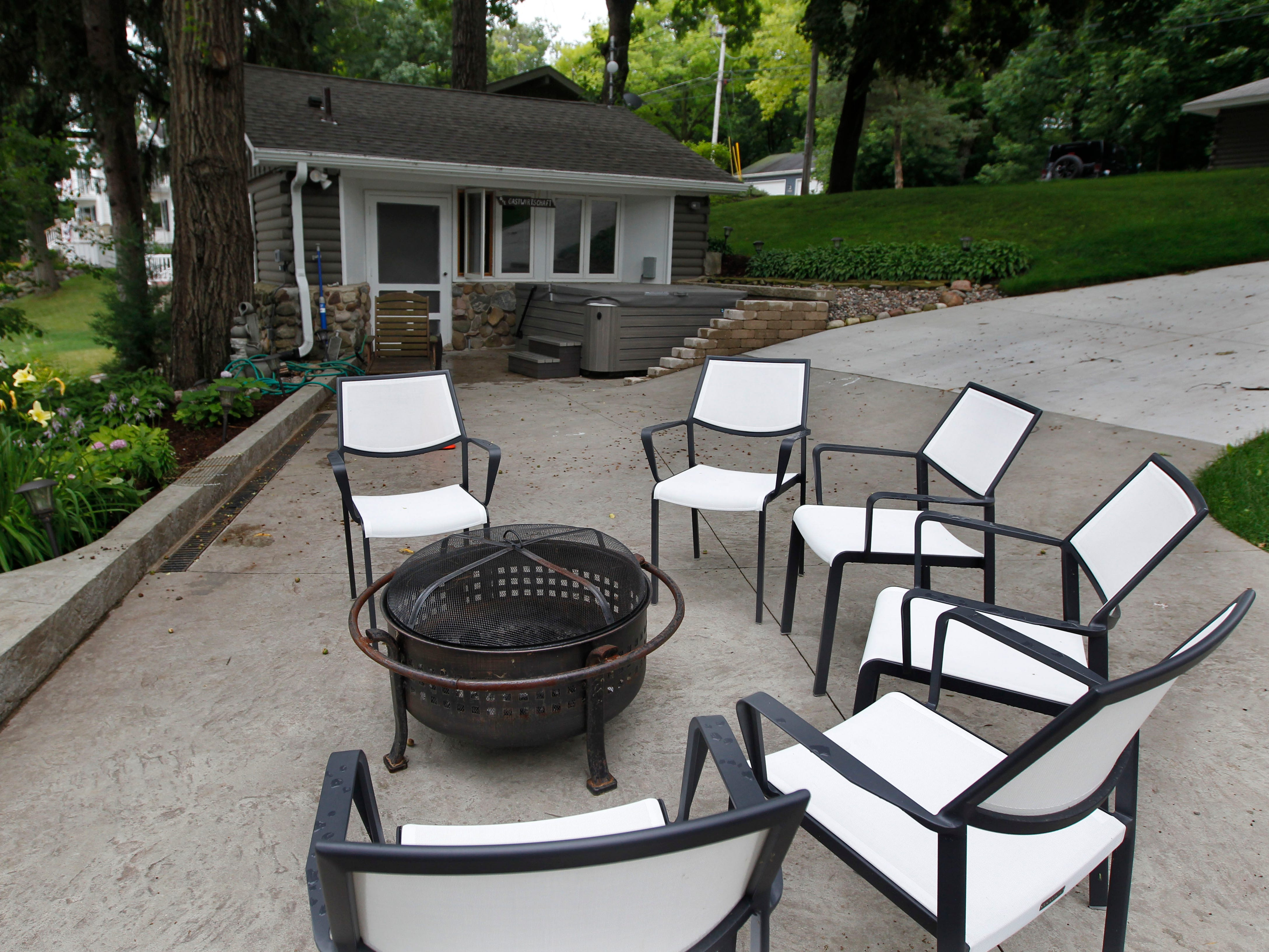 A fire pit offers warmth on chilly nights.
