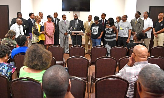 Pastor James Turner II IMP president speaks at the NAACP TN State Conference press conference in coalition with the NAACP Nashville, Interdenominational Ministers Fellowship (IMF) and Faith Leaders United to address the shooting death of Daniel Hambrick by a Nashville police officer.
