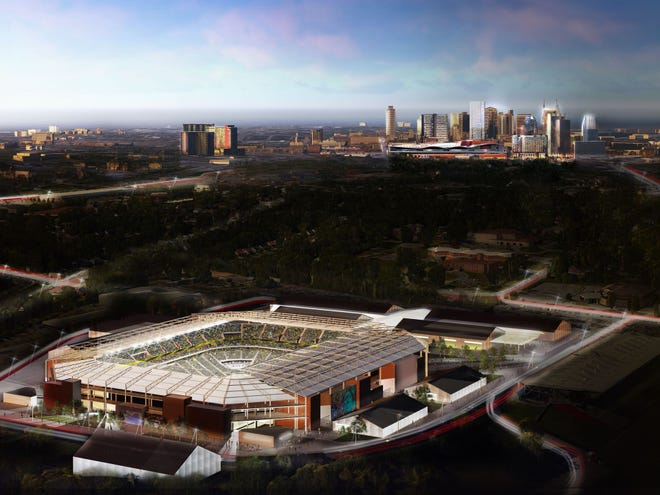 A rendering of the proposed MLS stadium in Nashville.