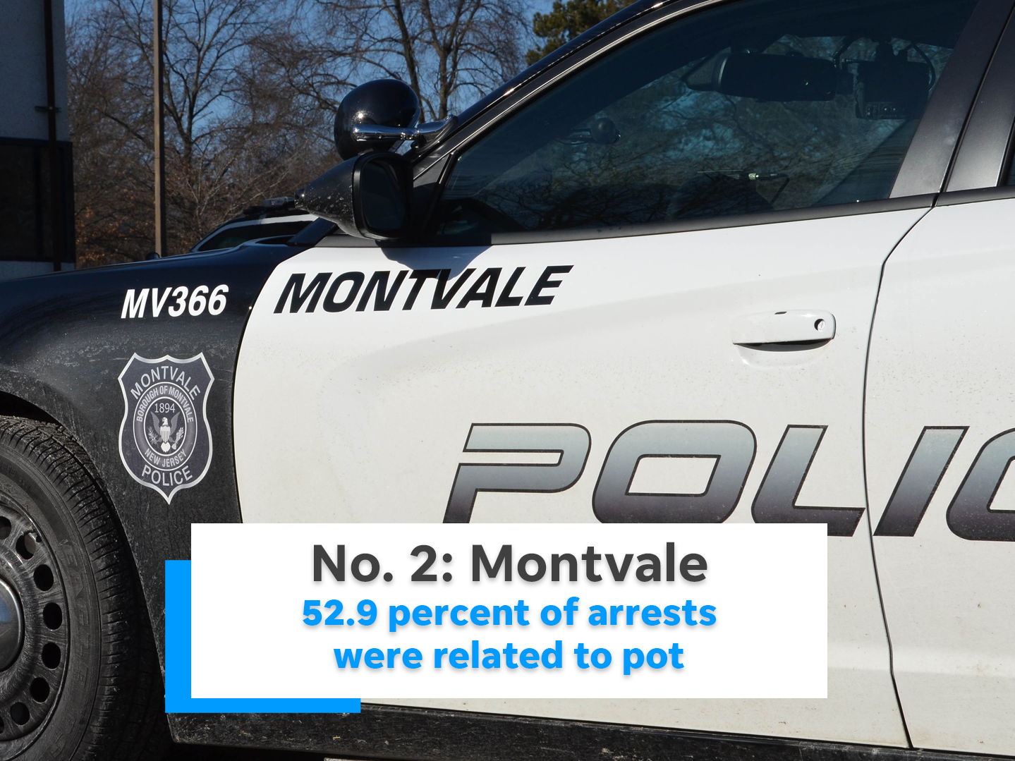 52.9 percent of Montvale's arrests were related to marijuana.