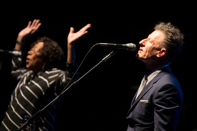 Lyle Lovett and His Large Band, which includes featured vocalist Francine Reed (left) will appear at Mayo PAC in Morristown and the Paramount Theatre in Asbury Park on August 8. The ensemble harkens back to the Texas swing of Bob Wills, but with Lovett's idiosyncratic songs.