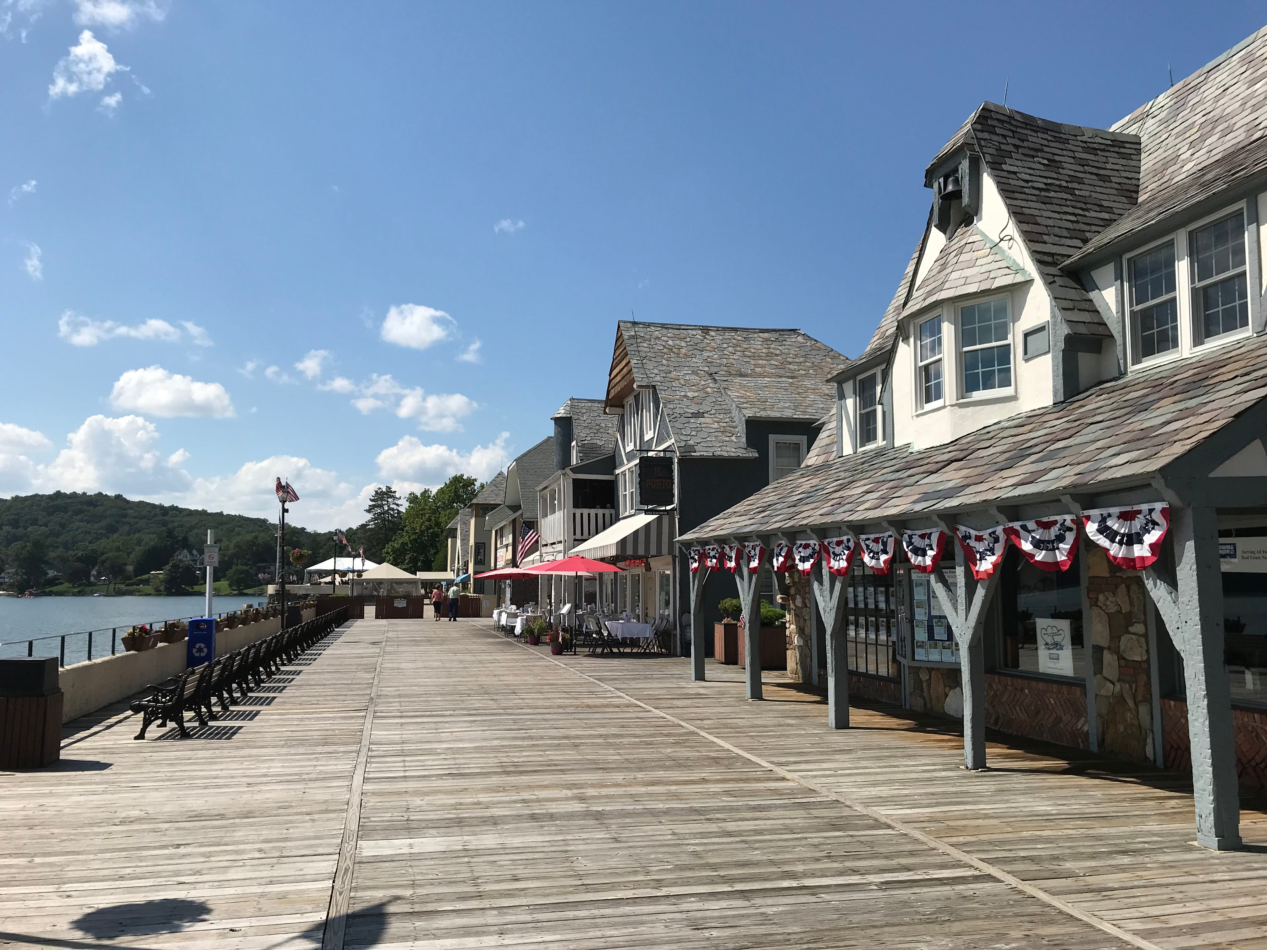 The boardwalk at Lake Mohawk in Sparta, N.J., as seen on July 26, 2018, is owned by the private lake community's association but a section is open to the public to allow access to local businesses.