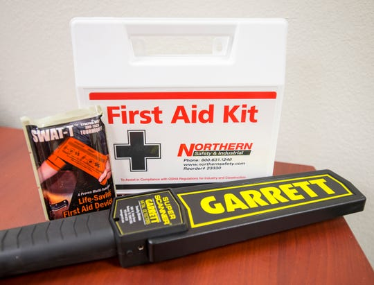 Metal detectors and first-aid kits, complete with tourniquets, will be in Escambia County schools starting this school year.
