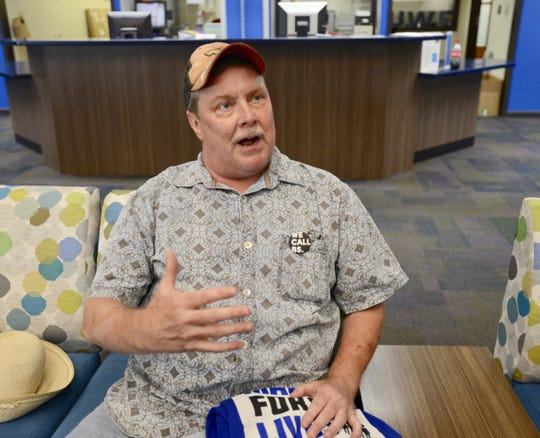 """Retired Navy veteran Mark McGrath, of Gulf Breeze,  talks Monday, July 30, 2018, about his support for what he calls """"common sense"""" gun control measures, such as banning assault weapons, before a townhall at the University of West Florida hosted by Parkland students with March for Our Lives as part of the """"Road to Change"""" tour."""