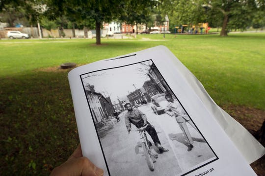 Looking east from inside Martin Luther King Jr. Memorial Park standing on what was once Codorus Street. The photo shows Bobby Powell, left, and Curtis Calhoun on Codorus Street prior to the eminent domain in 1958 that demolished the neighborhood.