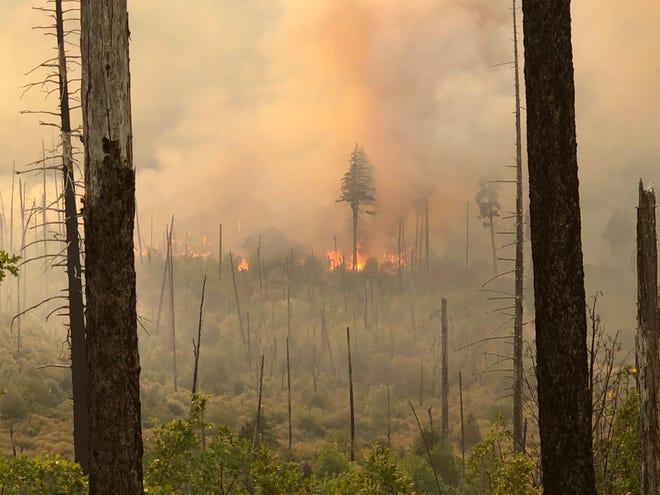 Flames and smoke on the Klondike Fire.