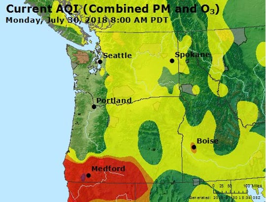 Air quality remained good in the Willamette Valley despite increased haze from wildfires.