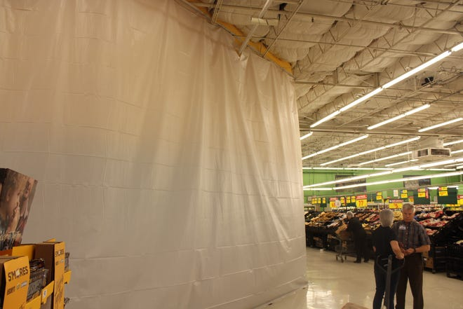 Curtain blocking off the constructing of the renovations at H-E-B on July 30, 2018 at 3301 Sherwood Way.