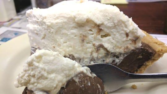 Pelican Diner's creamy chocolate pie.