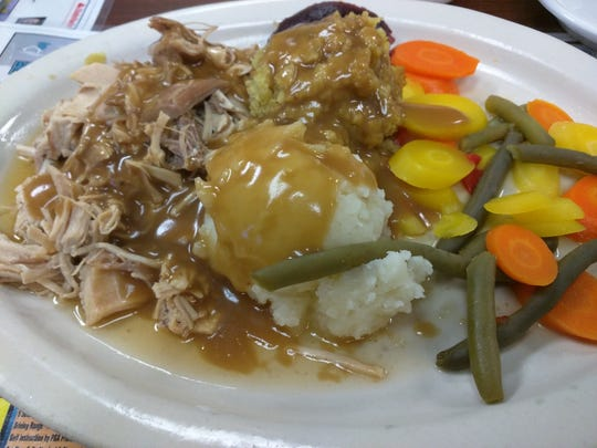 Pelican Diner's roast turkey, dressing, mashed potatoes with gravy, jellied cranberry sauce and vegetables was like Thanksgiving in July.