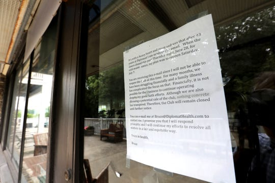 A notice on the entrance to the closed Diplomat Health and Swim Club in Piermont July 30, 2018.