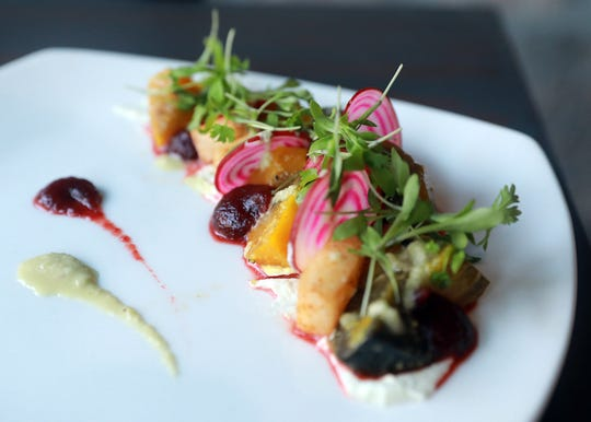 """Remolacha y jicama, aka beets three ways with paced jicama, pearl onion and green pepper vinegar are served during  Dinner with Jeanne"""" at DonJito in Mamaroneck July 26, 2018."""