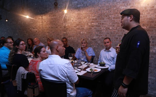 """Chef J. Carlos Rodriguez goes over the menu during  """"Dinner with Jeanne"""" at DonJito in Mamaroneck July 26, 2018."""