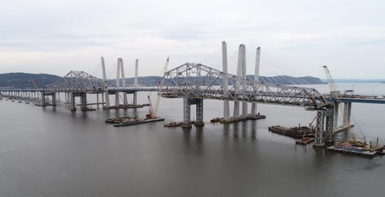 The dismantling of the old Tappan Zee Bridge continues with the center span already removed. This photo was taken on July 30, 2018.