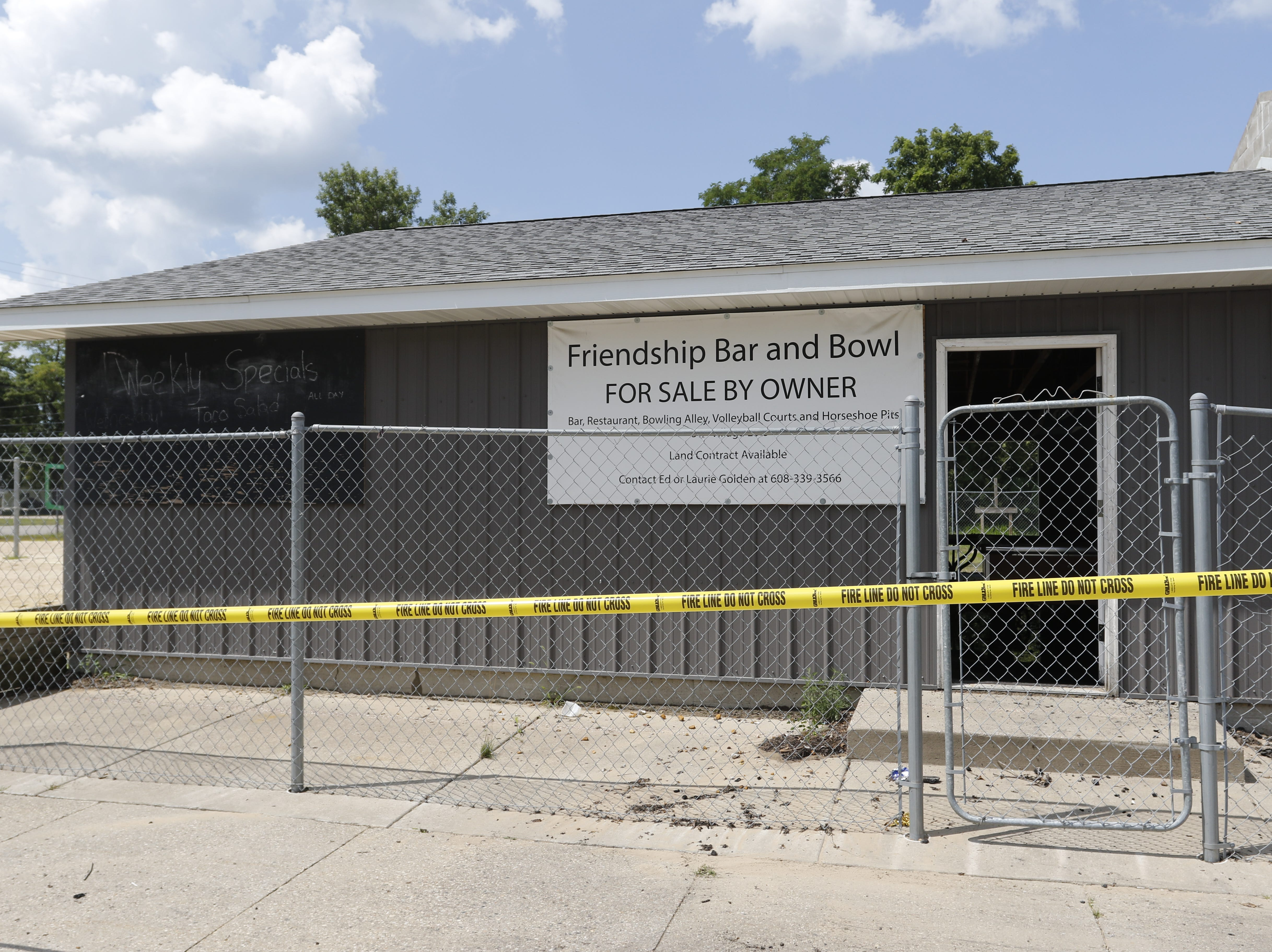 Friendship Bar and Bowl was for sale since October 2017 when a fire caused the local business to be a total loss Monday, August 30, 2018.