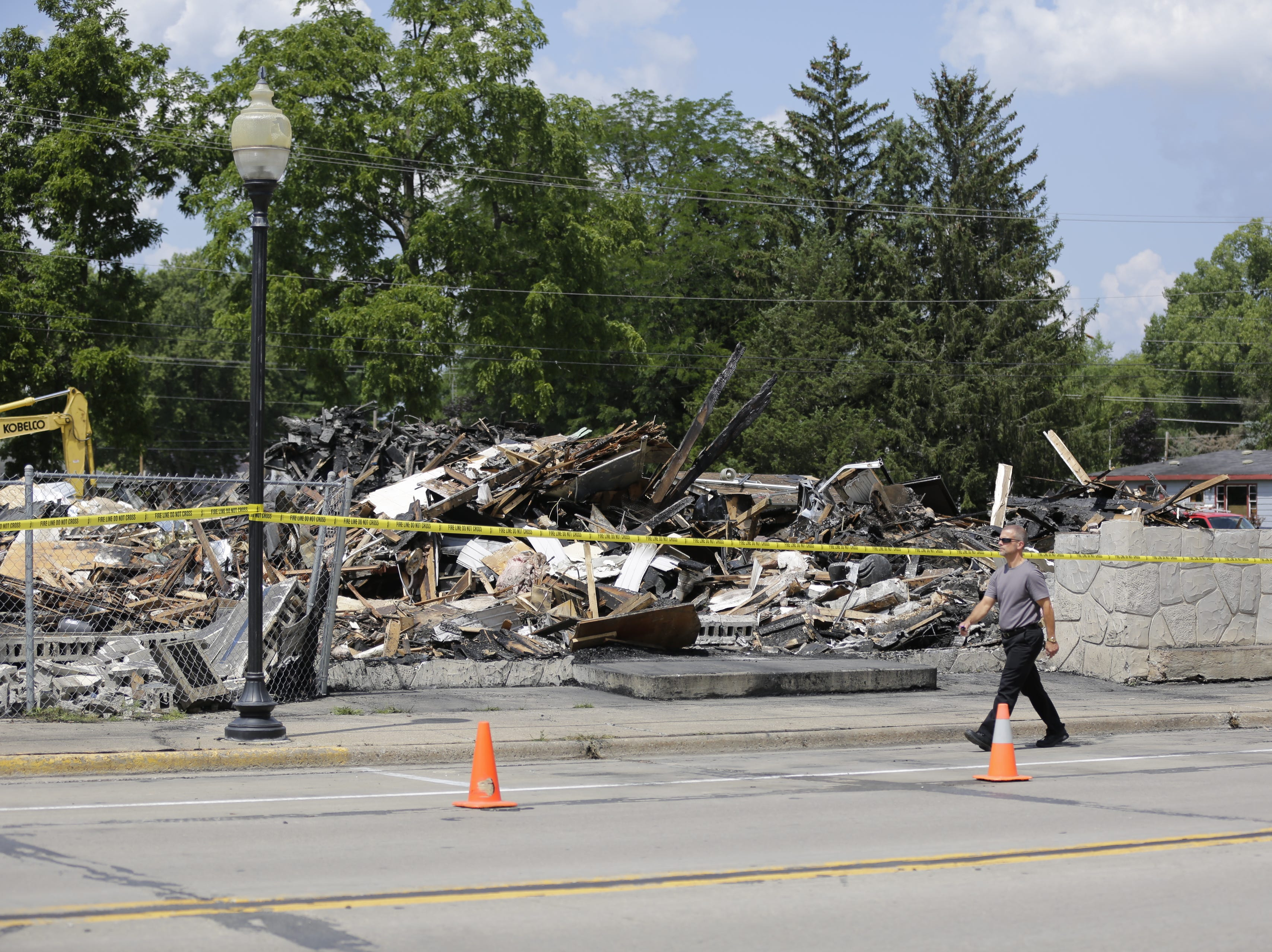 The burned remains of Friendship Bar and Bowl are seen on Monday afternoon July 30, 2018, just hours after a fire caused the local hangout in Friendship to be a total loss.
