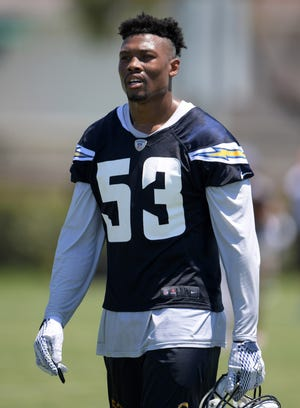 Los Angeles Chargers linebacker Joshua Perry (53) during the opening day of training camp at the Jack Hammett Sports Complex.