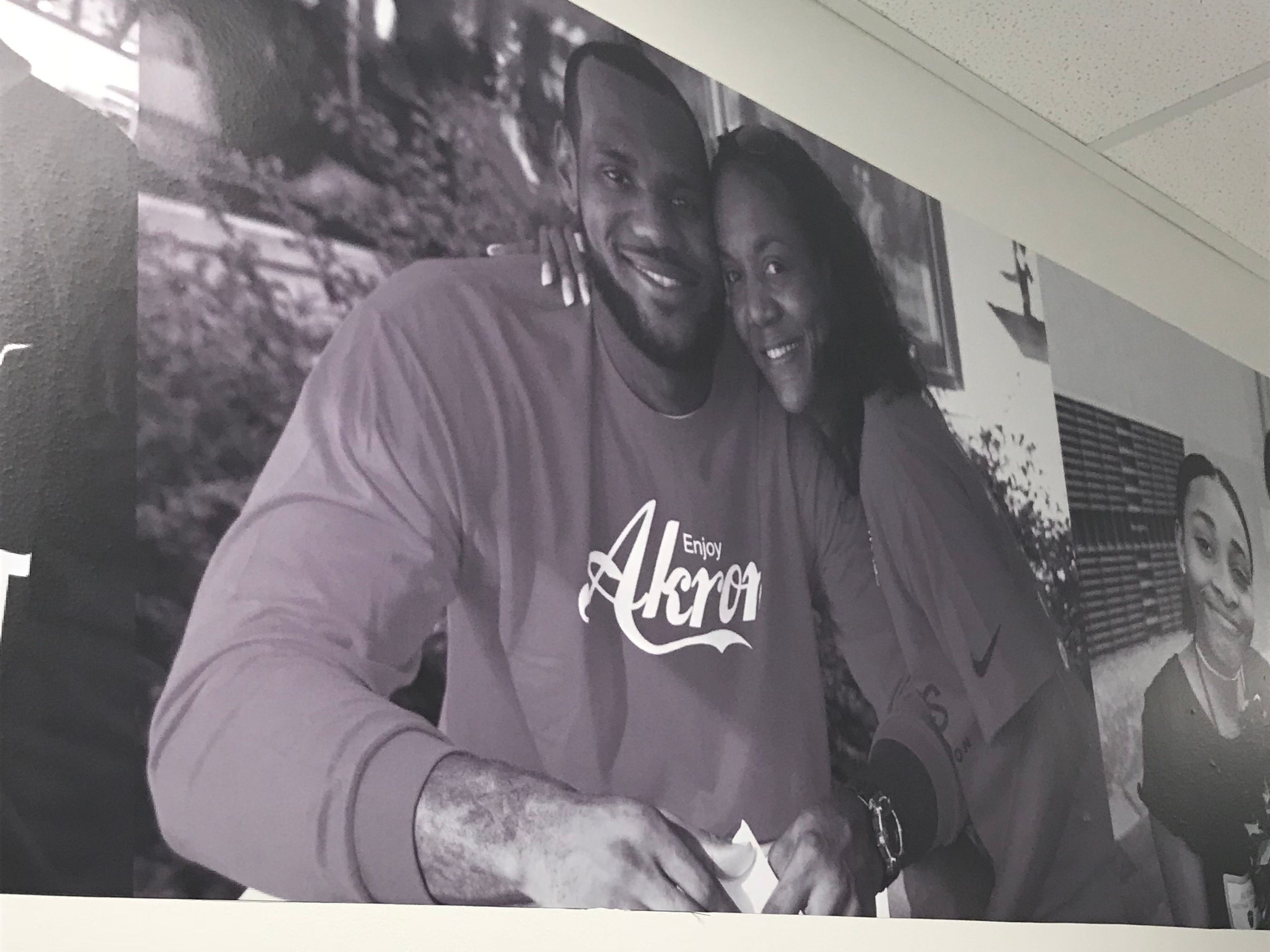 A photo of LeBron James and his mother Gloria on the walls of the I Promise School