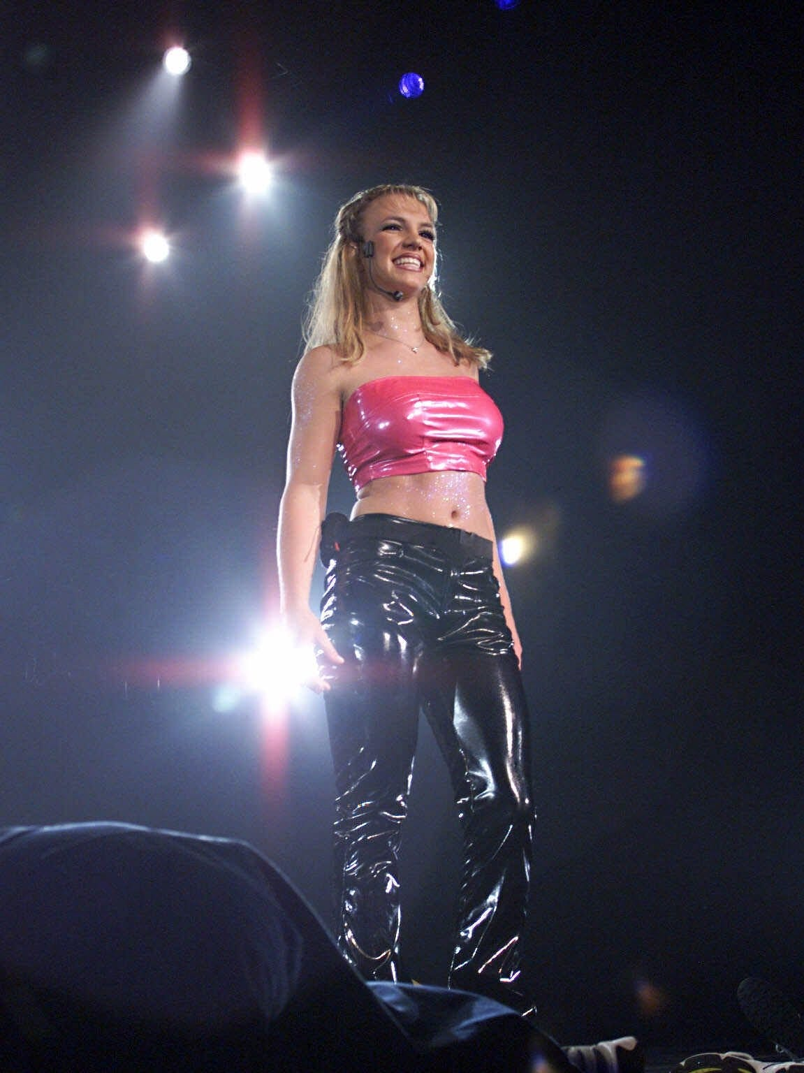 Britney Spears performs in Orlando, Florida, on Aug. 21, 1999.