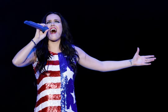 Katy Perry performs during a concert supporting Democratic presidential candidate Hillary Clinton, Saturday, Nov. 5, 2016.