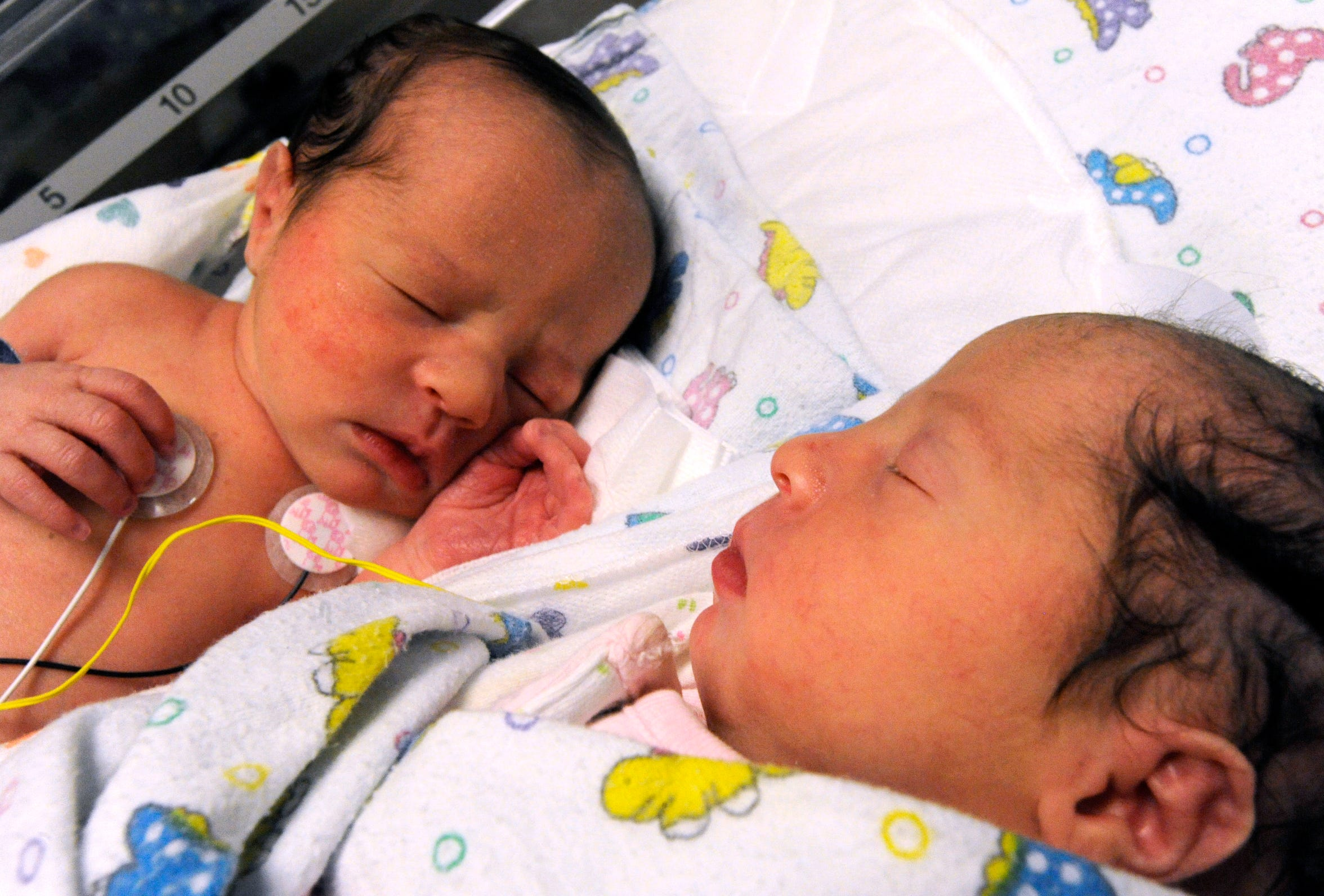 Nurses at Abilene Regional Medical Center had jokingly described identical twins Danielle Lyn Reed (left) and Hannah Grace Reed as being born a year apart. Hannah was born at 11:59:30 on Dec. 31, 2013, while her sister Danielle came into the world at 12:00:40, Jan. 1, 2014.