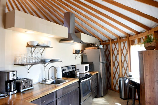 A full kitchen is one of the features of the Yin Yurt, an AirBnB rental on Ricardo Fernandez's property in Clyde. It took 8 months for Fernandez to construct the yurt, which he finished in April.