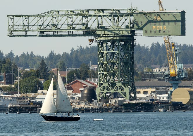 A sailboat cruises past the Hammerhead crane at PSNS on a sunny and warm Wednesday, July 25, 2018.
