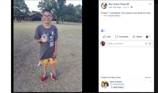 A screenshot shows a photo posted by Boy Scout Troop 65 of Isaiah Starry, 13.