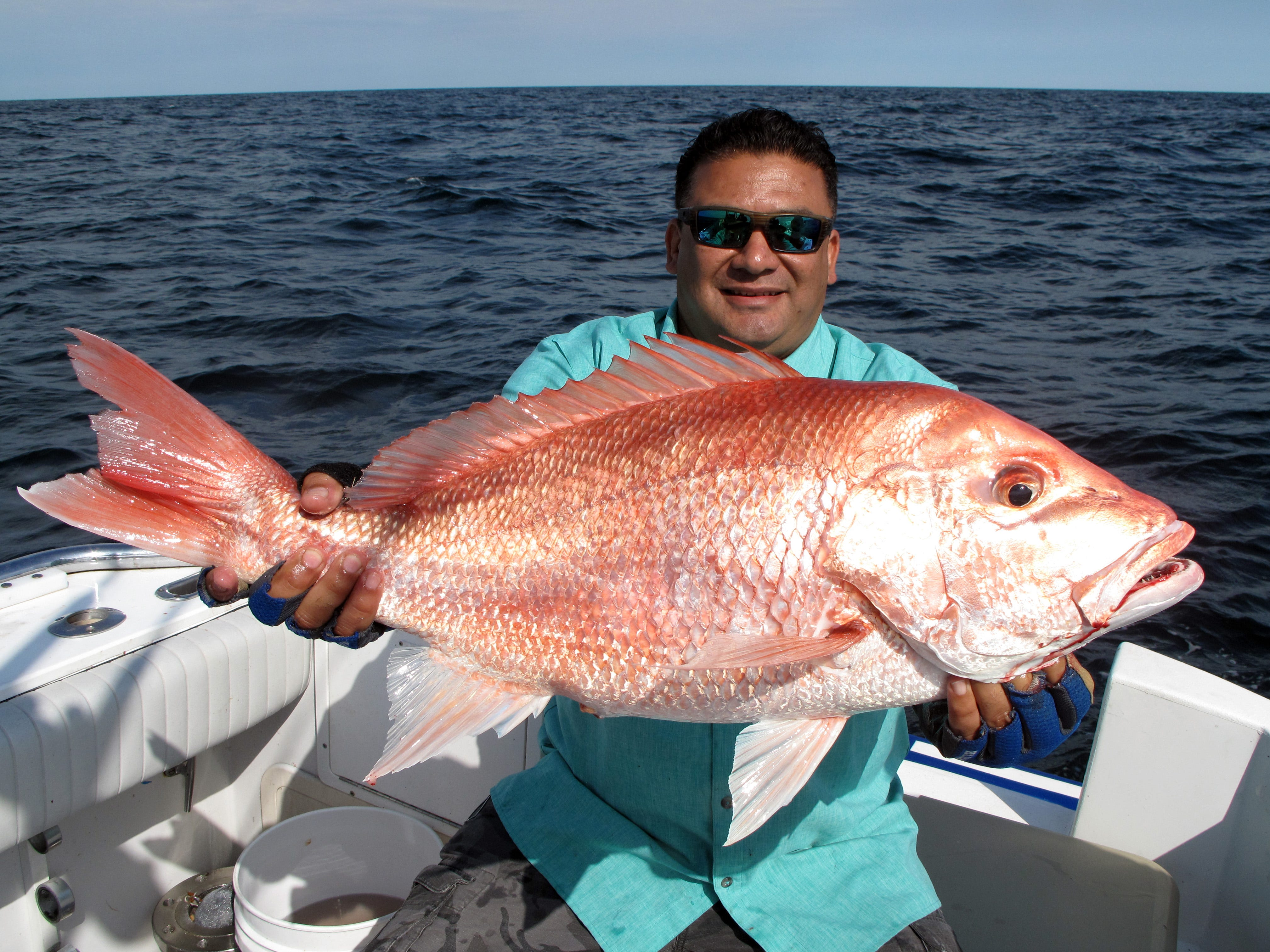 Havier Maldonado caught this big red snapper while fishing offshore in the Gulf.