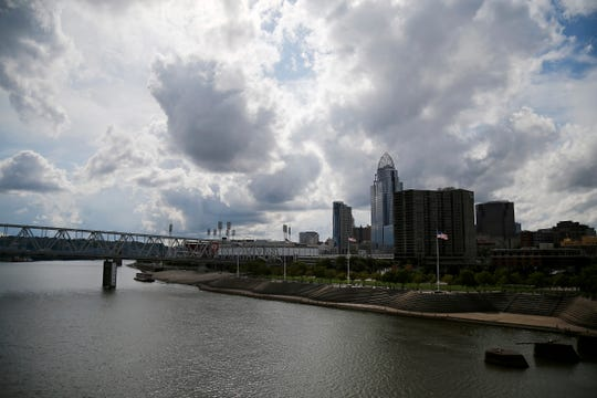 Clouds roll over downtown Cincinnati on Tuesday, July 31, 2018.