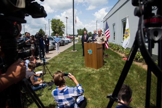 Poweshiek County Sheriff Tom Kriegel speaks to the media during a news conference to discuss updates in the search for missing 20-year-old Mollie Tibbetts, on Tuesday, July 31, 2018, outside of the Poweshiek County Sheriff's Office in Montezuma.